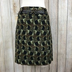 Etcetera Green and Black Skirt With Studded Belt